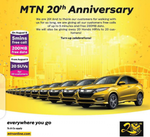 MTN Celebrating 20th Years Anniversary - Checks The Expected Gifts To Win